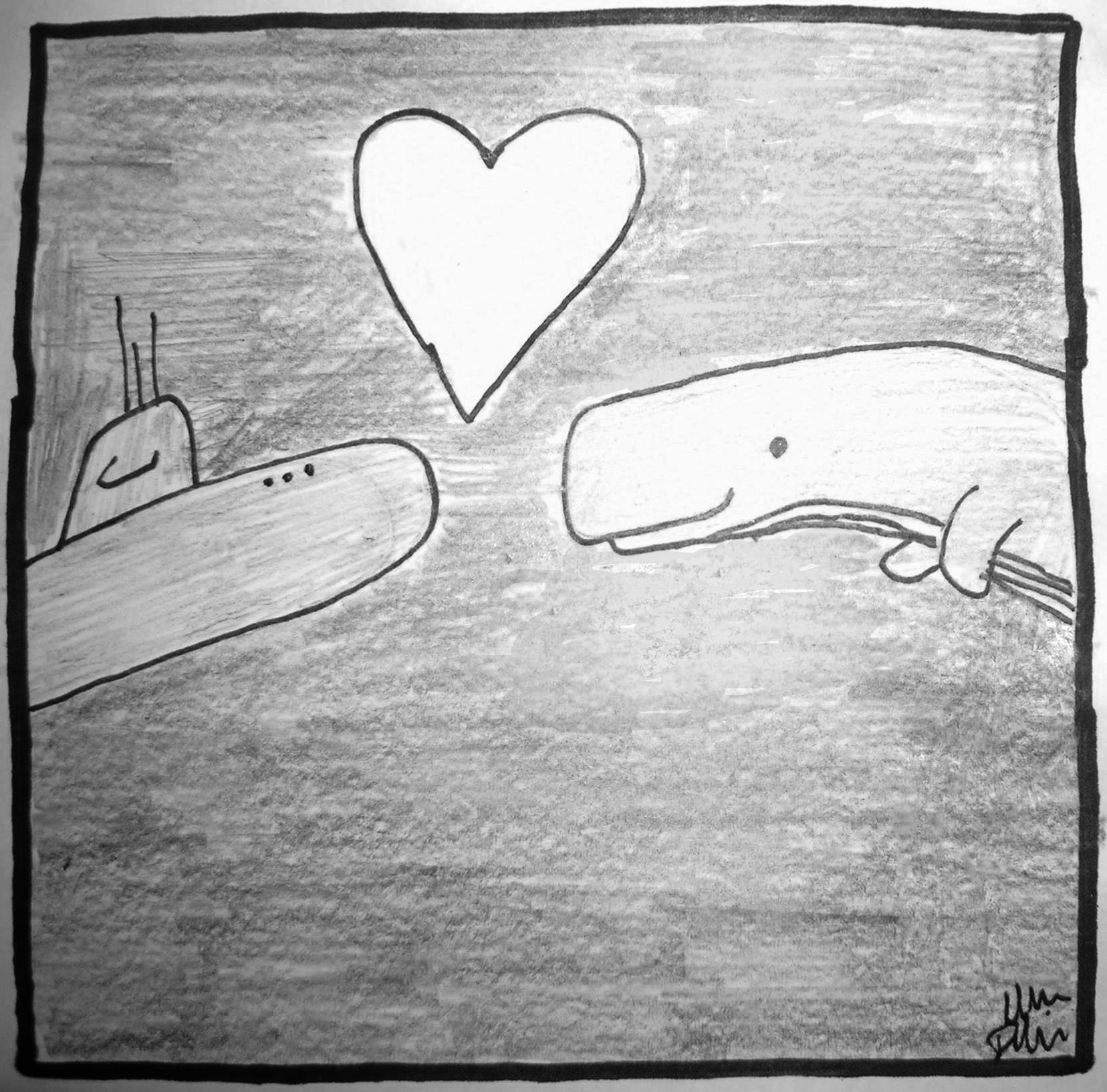 A sperm whale and a submarine in love